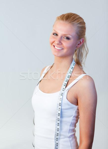 Szőke nő fogyókúra fókusz nő vonzó mosolyog Stock fotó © wavebreak_media