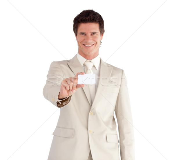 üzletember tart fehér kártya izolált üzlet Stock fotó © wavebreak_media