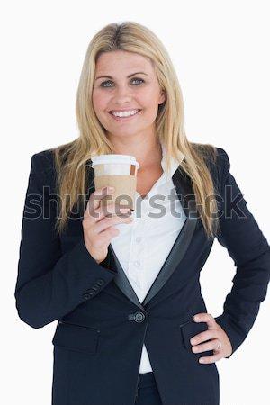 Mosolyog üzletasszony tart iszik csésze fehér Stock fotó © wavebreak_media