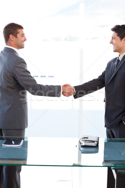 Cheerful businessmen closing a deal by shaking their hands at the office Stock photo © wavebreak_media