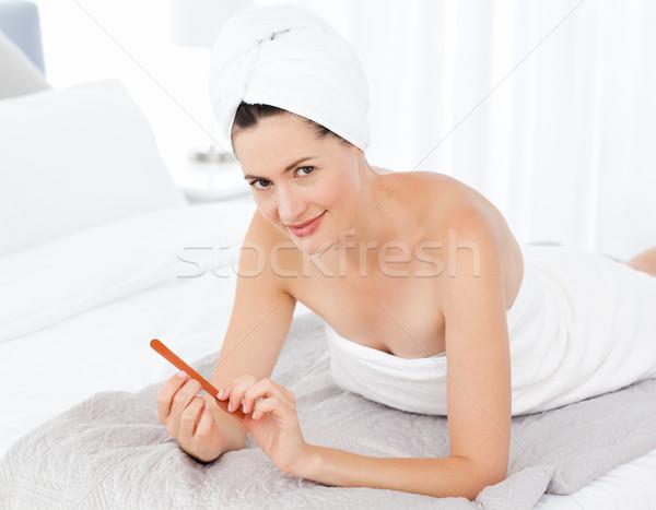 Stockfoto: Aantrekkelijke · vrouw · make-up · ruimte · badkamer · huid · vrouwelijke
