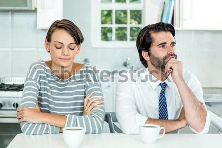 Moe paar drinken koffie keuken vrouw Stockfoto © wavebreak_media