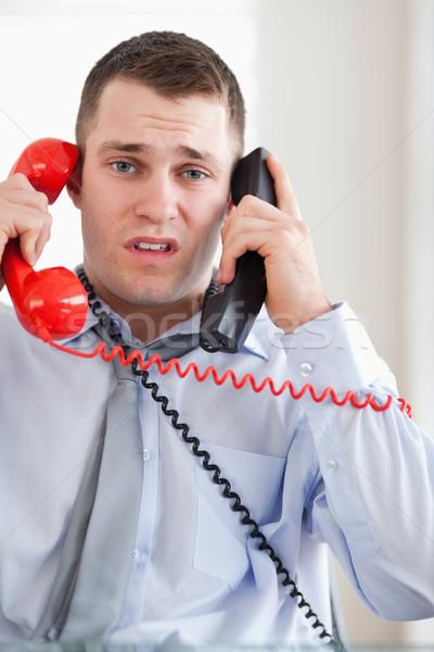 Közelkép hangsúlyos üzletember problémás telefon iroda Stock fotó © wavebreak_media