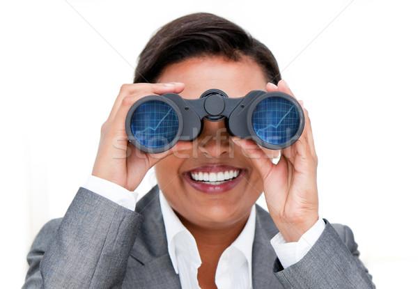 Tolakodó üzletasszony néz látcső fehér boldog Stock fotó © wavebreak_media