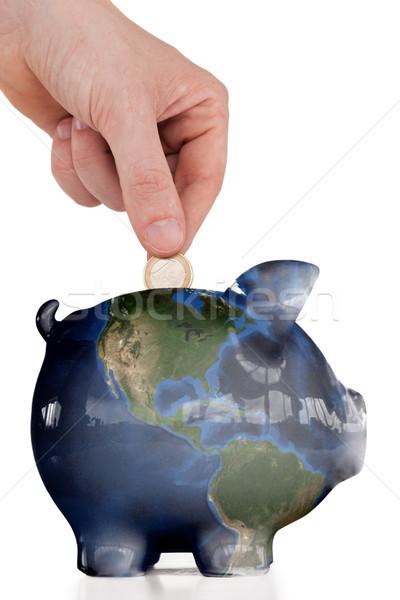 Kéz érme persely fehér pénz térkép Stock fotó © wavebreak_media