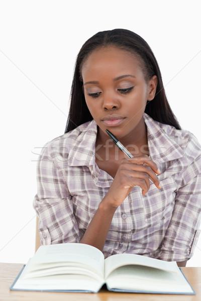Genç kadın eğitim beyaz kitap okul çalışmak Stok fotoğraf © wavebreak_media