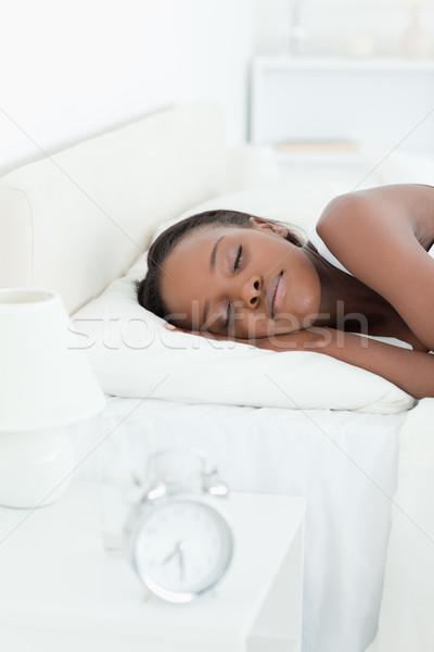 Portré fiatal nő alszik hálószoba arc modell Stock fotó © wavebreak_media