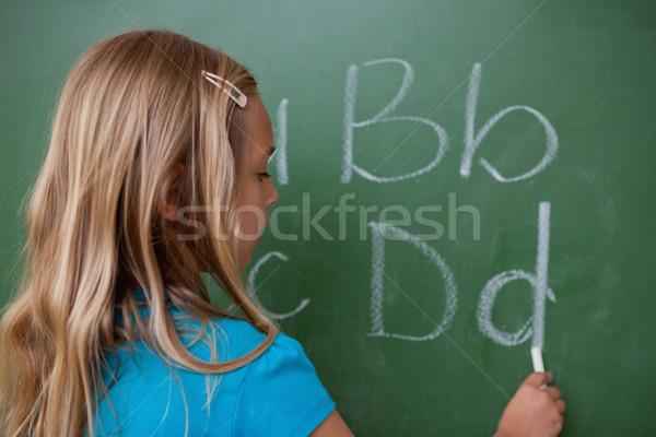 Stock foto: Schülerin · schriftlich · Briefe · Tafel · Schule · glücklich