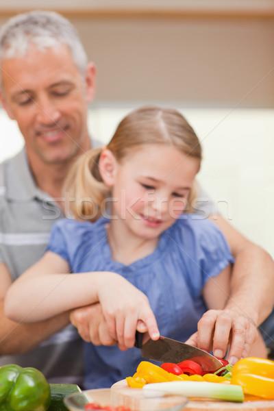 Сток-фото: портрет · отец · перец · дочь · кухне