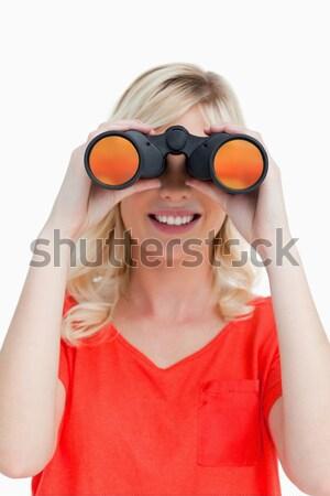 Mujer binoculares blanco trabajo fondo ejecutivo Foto stock © wavebreak_media