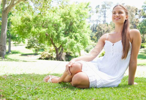 Stockfoto: Glimlachend · jonge · vrouw · ontspannen · gras · glimlach · schoonheid