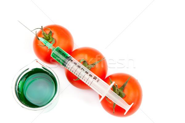 Zlewka strzykawki pomidory biały szkła zielone Zdjęcia stock © wavebreak_media