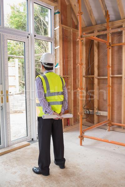 Stockfoto: Architect · permanente · bouwplaats · naar · buiten · home