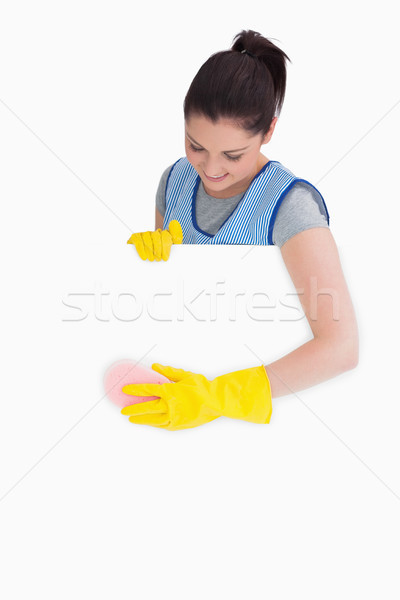 Mosolyog szobalány mosás szivacs fehér kéz Stock fotó © wavebreak_media