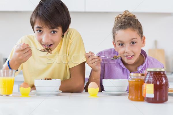 Siblings eating cereal for breakfast Stock photo © wavebreak_media