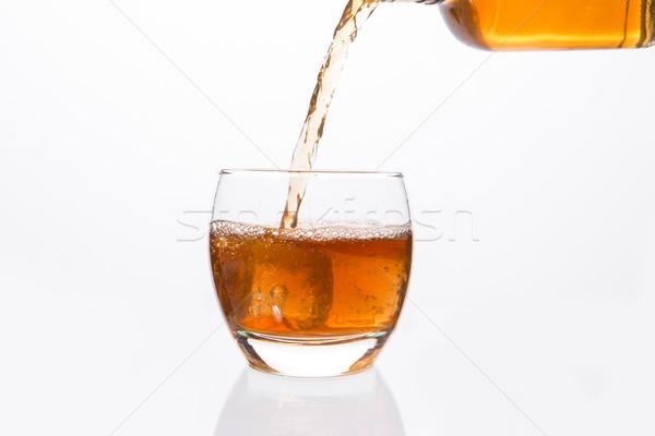 Whisky fles glas witte drinken Stockfoto © wavebreak_media