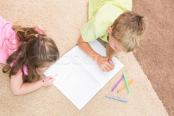 Tapis maison salon papier enfant Photo stock © wavebreak_media