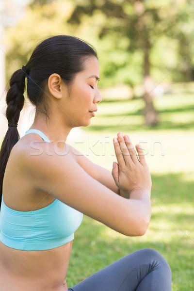 Sportos nő namaste pozició csukott szemmel park Stock fotó © wavebreak_media