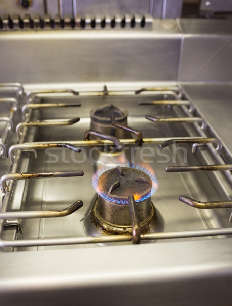 Burning gas on kitchen gas stove Stock photo © wavebreak_media