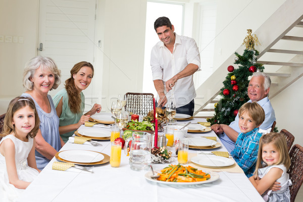 Família natal refeição mesa de jantar retrato pai Foto stock © wavebreak_media