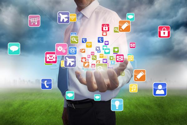 Empresário aplicativo ícones composição digital computador Foto stock © wavebreak_media