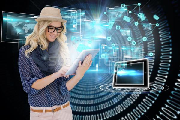 блондинка электронная почта иконки цифровой композитный Сток-фото © wavebreak_media