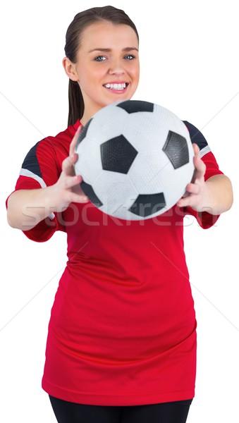 Csinos futball ventillátor piros fehér boldog Stock fotó © wavebreak_media