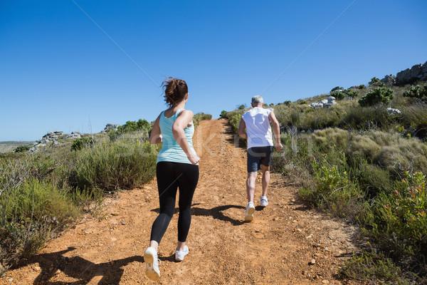 Fitt pár jogging felfelé hegy nyom Stock fotó © wavebreak_media