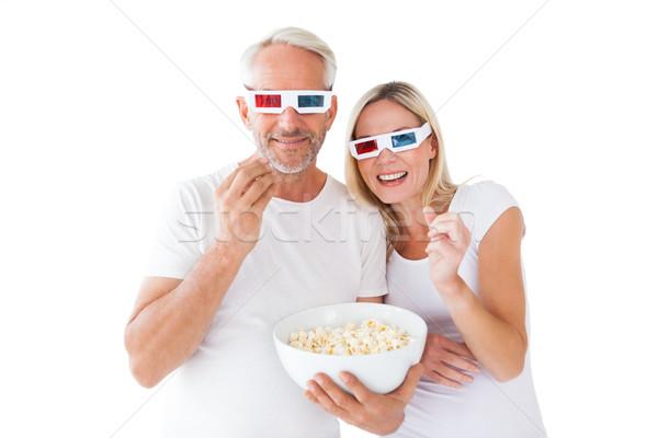 счастливым пару 3d очки еды попкорн Сток-фото © wavebreak_media