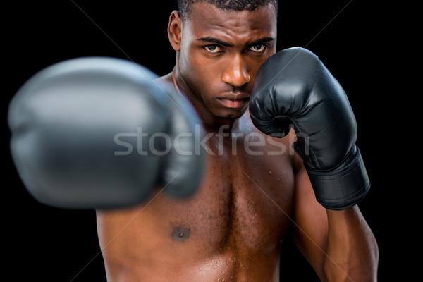 Fiatal póló nélkül férfi boxoló helyes fekete Stock fotó © wavebreak_media