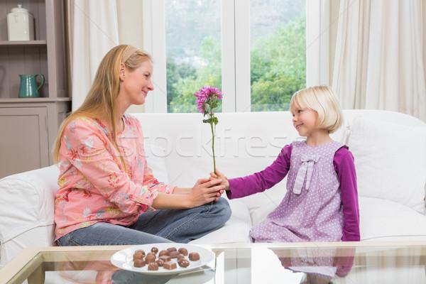Kislány meglepő anya virágok otthon nappali Stock fotó © wavebreak_media