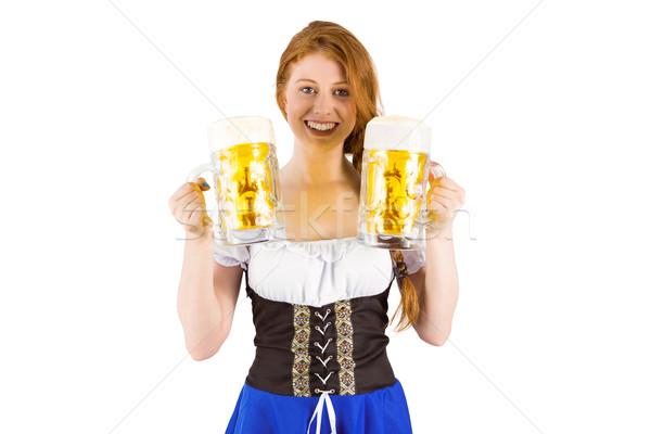 Oktoberfest meisje bier witte Blauw Stockfoto © wavebreak_media