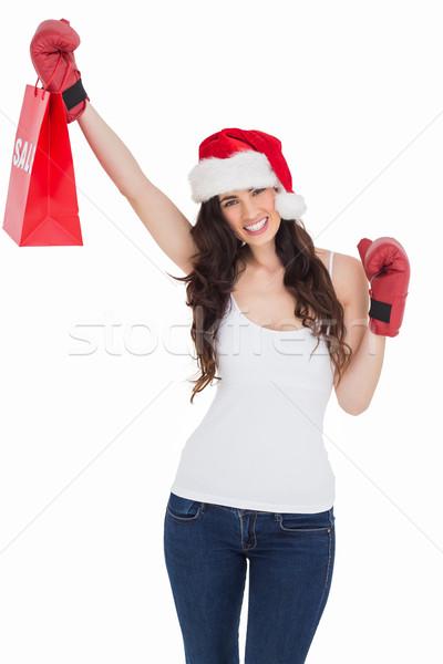 брюнетка боксерские перчатки корзина белый красоту Сток-фото © wavebreak_media