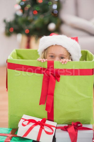 Cute little girl sitting in giant christmas gift Stock photo © wavebreak_media
