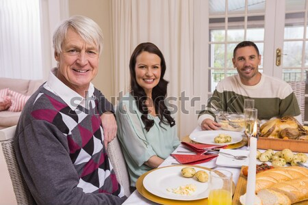 Portrait of a grandfather during christmas dinner Stock photo © wavebreak_media