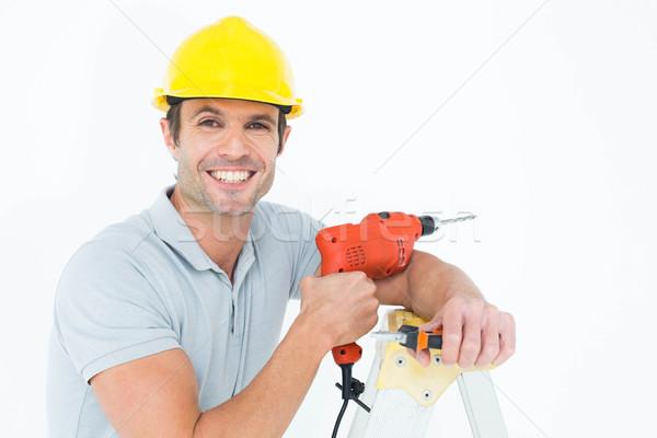 Boldog technikus tart fúró gép dől Stock fotó © wavebreak_media