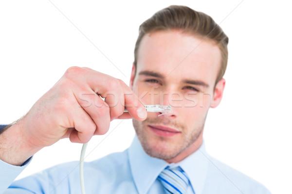 Zagęszczony biznesmen kabel biały korporacyjnych Zdjęcia stock © wavebreak_media