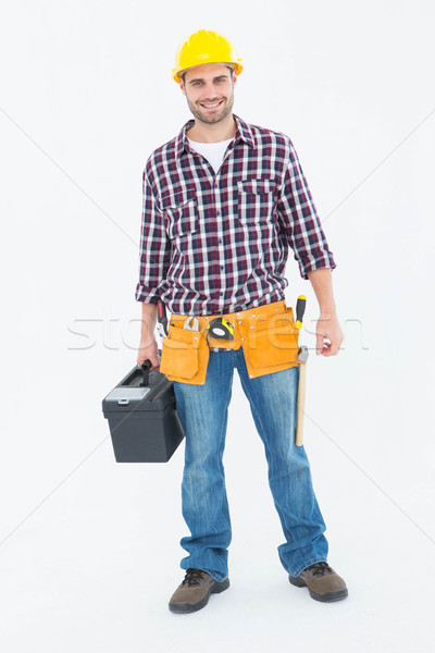 Gelukkig mannelijke toolbox portret Stockfoto © wavebreak_media