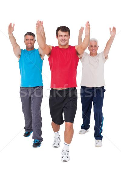 Geschikt mannen armen witte gelukkig Stockfoto © wavebreak_media