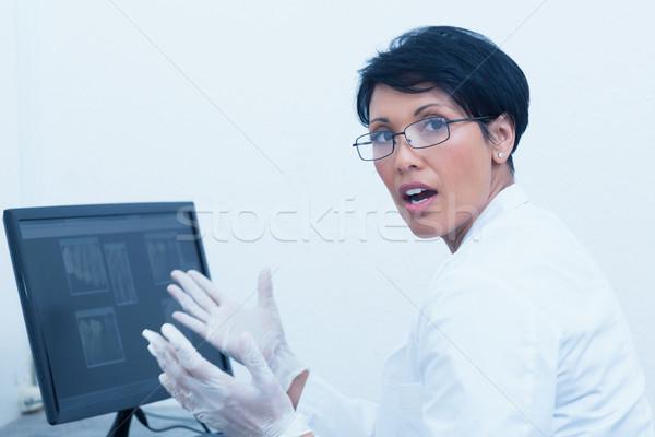 Homme dentiste xray ordinateur portrait écran Photo stock © wavebreak_media