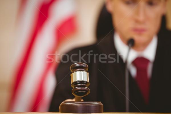Stern judge about to bang gavel on sounding block Stock photo © wavebreak_media