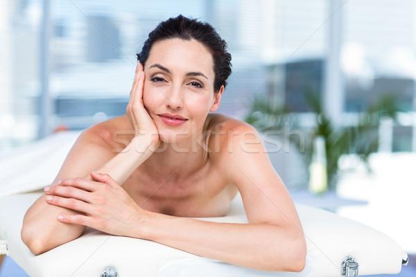 Sorridere bruna rilassante massaggio tavola sani Foto d'archivio © wavebreak_media