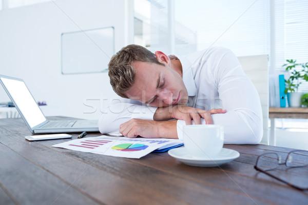 Sfinito imprenditore dormire desk ufficio business Foto d'archivio © wavebreak_media