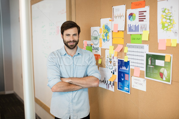 Portrait of young smiling businessman with arms crossed by soft board at office Stock photo © wavebreak_media