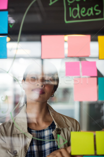 Male and female executives looking at sticky notes Stock photo © wavebreak_media