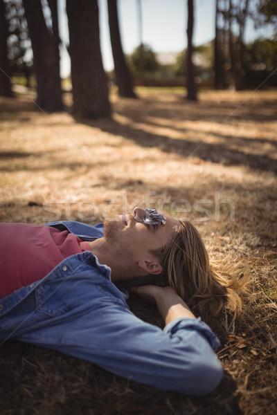 Görmek genç rahatlatıcı çimenli alan Stok fotoğraf © wavebreak_media