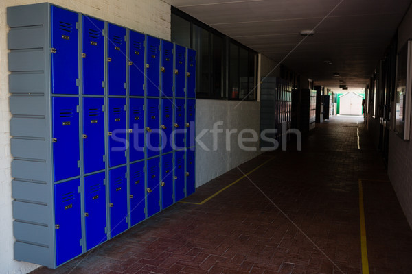 Kék folyosó iskola fa zár magányos Stock fotó © wavebreak_media