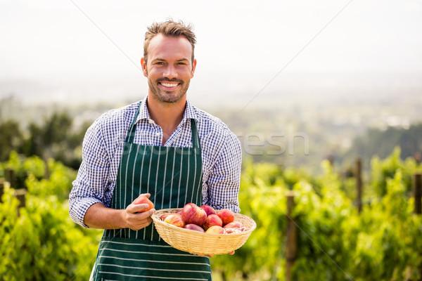 Portré mosolyog férfi tart alma kosár Stock fotó © wavebreak_media