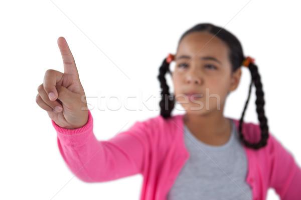 Lány kisajtolás láthatatlan virtuális képernyő közelkép Stock fotó © wavebreak_media