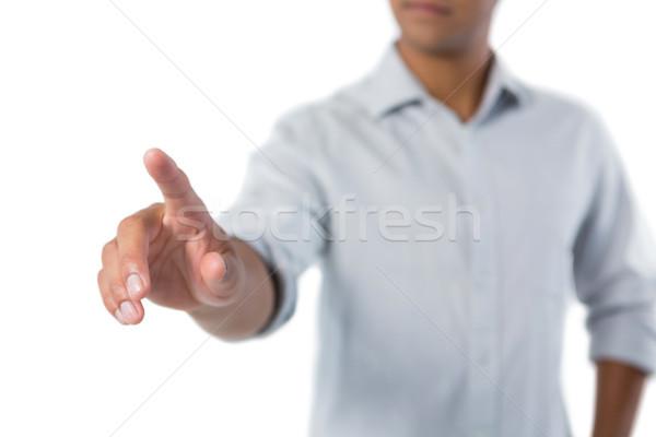Férfi érintés láthatatlan képernyő fehér férfi fehér Stock fotó © wavebreak_media